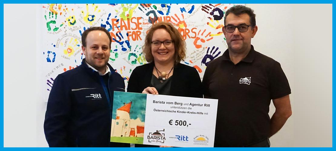 Barista vom Berg und Agentur Ritt: Gemeinsame Spende an die Österreichische Kinder-Krebs-Hilfe